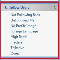 TweetAdder unfollow options
