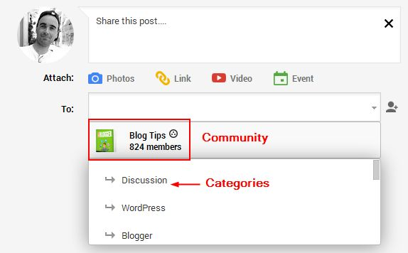 Google Plus community share
