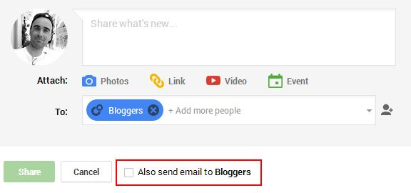 Google Plus email circle