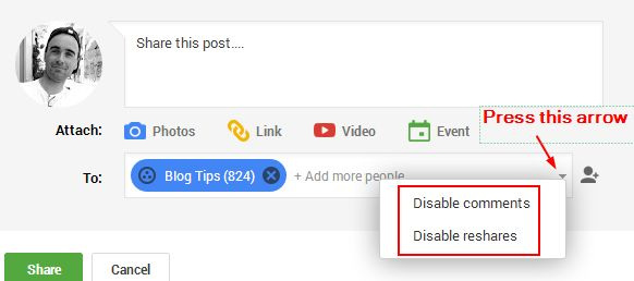 Google Plus restrict sharing