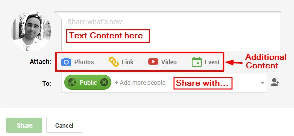 Google plus default share