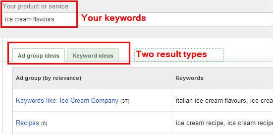 Google AdWords Keyword Planner result types