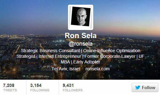 Ron Sela Twitter Bio