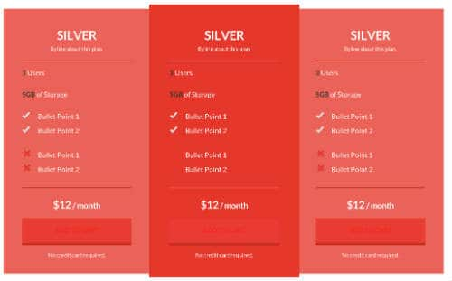 Thrive Pricing Table