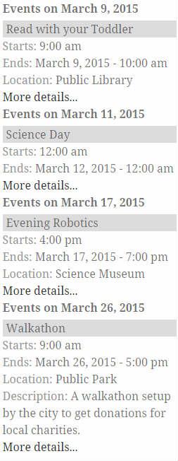 Google Calendar Events List
