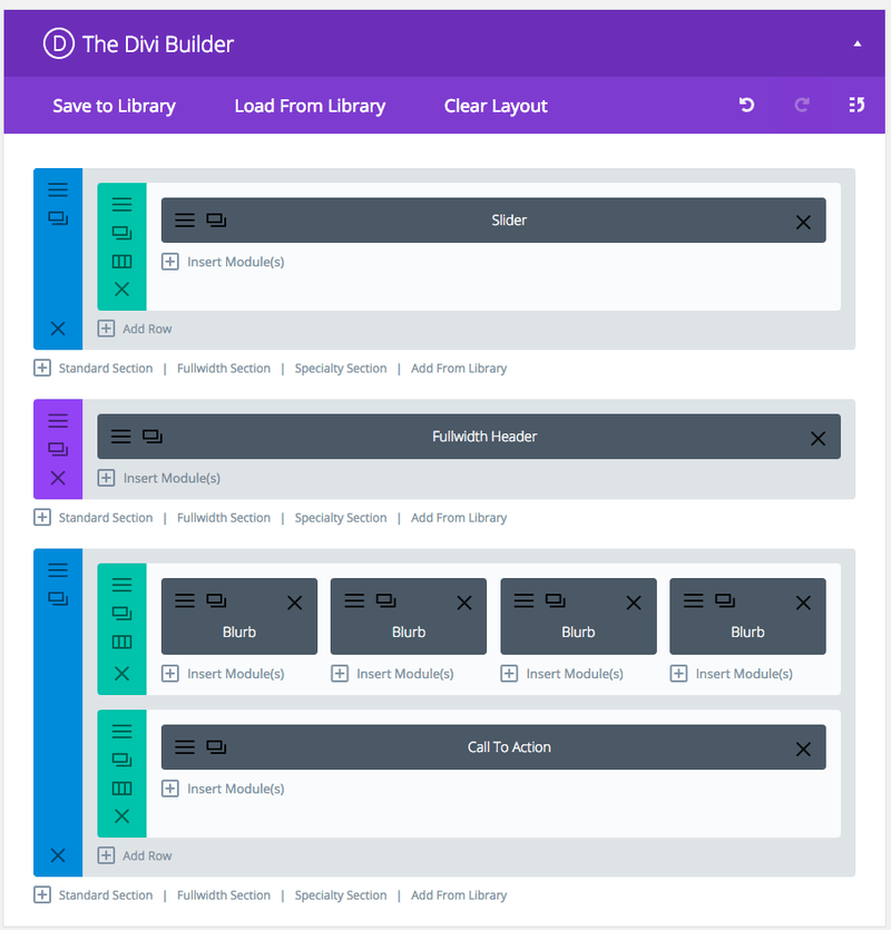 Divi Layout Home Basic - Builder View