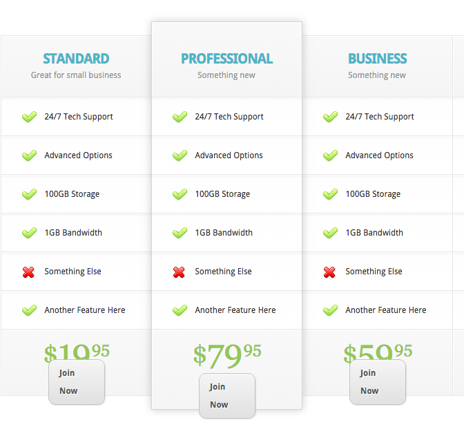Elegant Themes Shortcode Pricing Tables