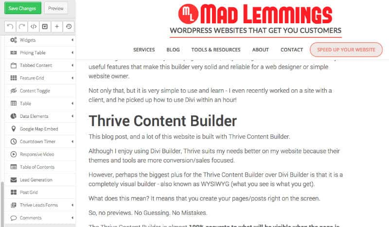 Thrive Content Builder - Toolbar