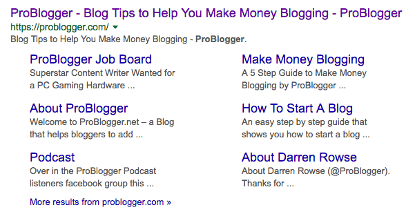 Google Site Links for Pro Blogger