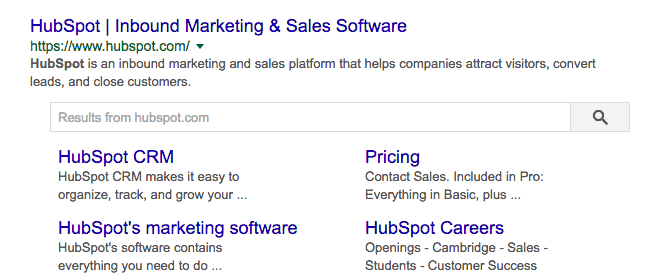 Hubspot Google Site Links With Search Box