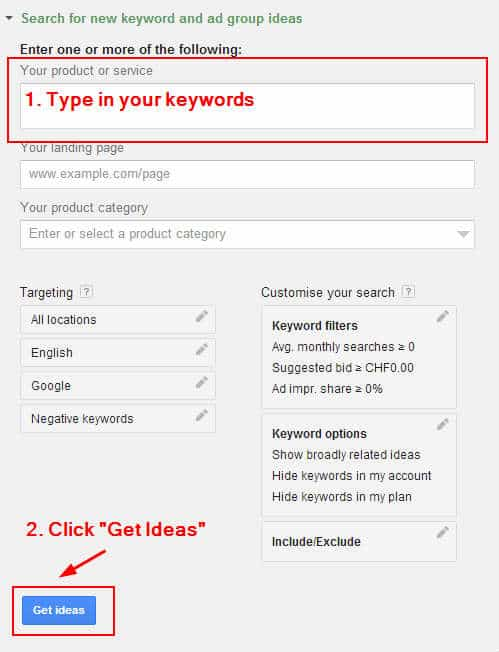 Google AdWords Keyword Planner get ideas