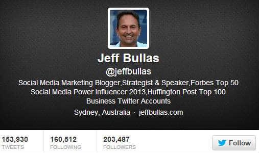 Jeff Bullas twitter Bio