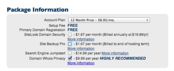 bluehost hosting plan options