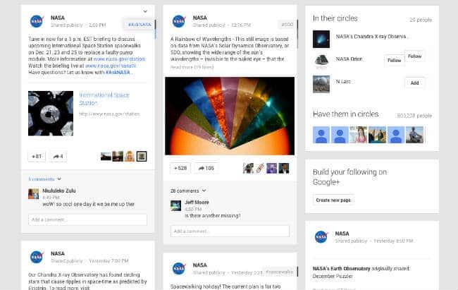 google plus business NASA