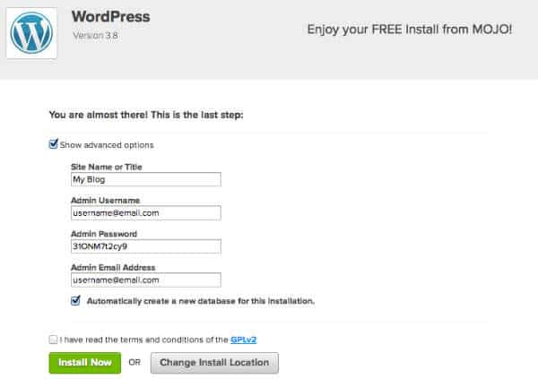 wordpress install options