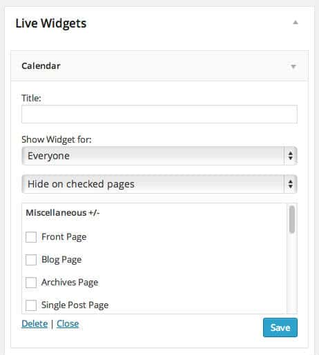 display widget configure