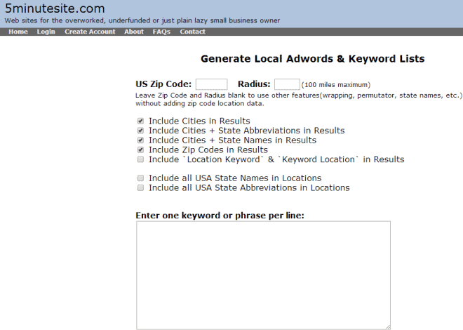 5MinuteSite Local SEO Keywords Generator
