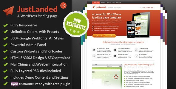 Just Landed WordPress Landing Page Theme