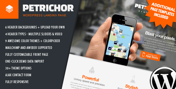 Petrichor WordPress Landing page theme