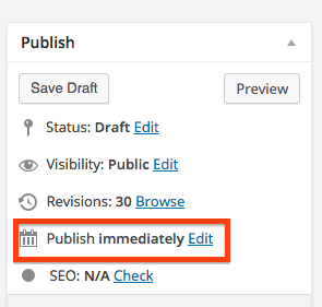 WordPress Publish Scheduling