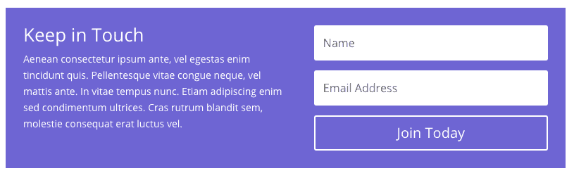 Divi Module - Email Signup