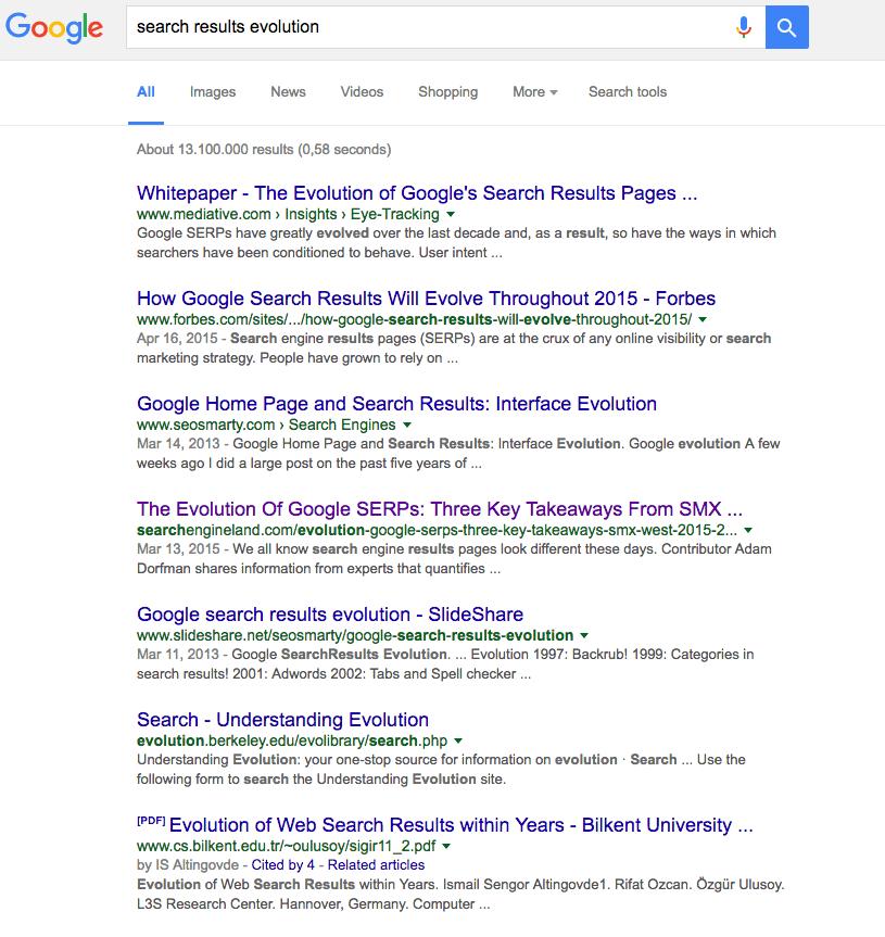 Standard Google SERP