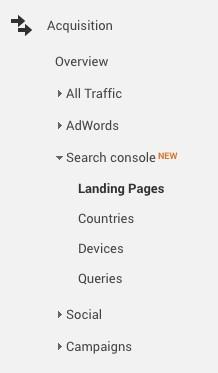 Google Analytics Landing Pages Keywords