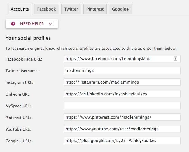 Yoast Social Profile Settings