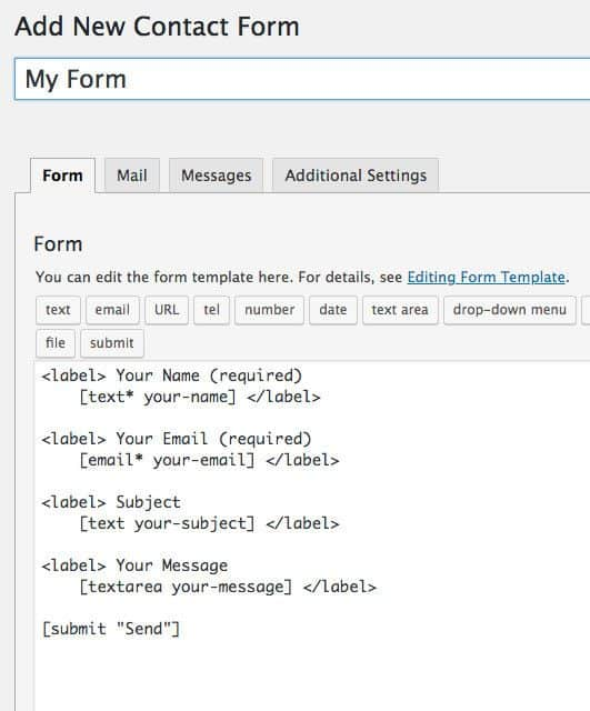 contact form 7 default form