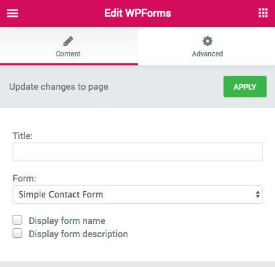 Elementor WPforms widget